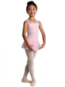 Danshuz Little Girls Light Pink Sleeveless Mesh Overlay Dance Leotard Dress 2-6