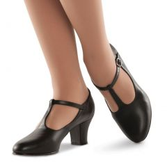 Danshuz Women Black Broadway T-Strap Character Dance Shoes Size 4-12