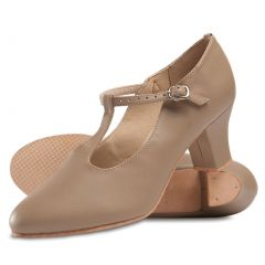 Danshuz Women Tan Broadway T-Strap Character Dance Shoes Size 4-12