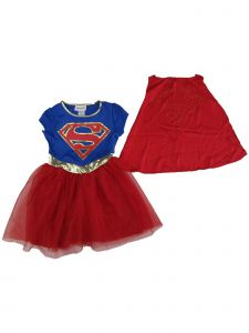 DC Comics Little Girls Royal Blue Red Super Girl Cape Short Sleeve Dress 4-6X