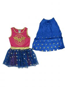 DC Comics Little Girls Royal Blue Pink Wonder Woman Cape Sleeveless Dress 4-6X