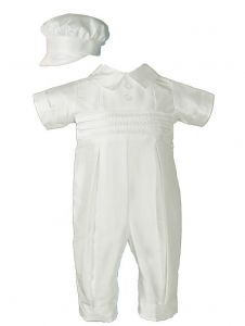 Baby Boys Ivory Silk Pleated Pants Pin Tuck Hat Christening Coverall 0-24M