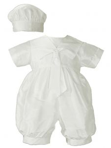 Baby Boys White Silk Sailor Collar Hat Christening Romper Set 0-12M