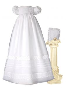 Baby Girls White Organza French Lace Pin Tuck Bonnet Christening Dress Gown 0-3M