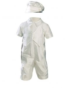 Baby Boys Off White Short Sleeves Silk Dupioni Hat Christening Outfit 0-12M