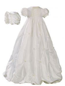Baby Girls Off-White Silk Bubble Venice Lace Christening Dress Outfit 0-18M