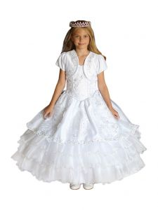 Angels Garment Big Girls White Embroidered Organza Overlay Communion Dress 10