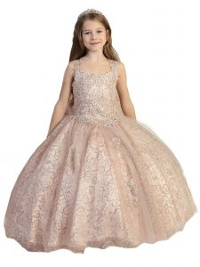 Girls Multi Color Crystal Corset Open Back Ball Gown Pageant Dress 7-12