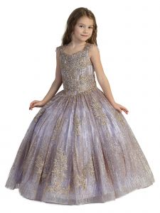Girls Multi Color Glitter Corset Open Back Ball Gown Pageant Dress 2-12