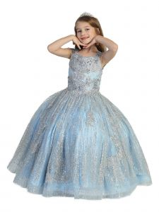 Little Girls Silver Blue Glitter Corset Open Back Ball Gown Pageant Dress 2-6