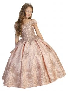 Little Girls Rose Gold Pleated Skirt Off Shoulder Ball Gown Pageant Dress 2-6