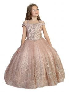 Girls Multi Color Crystal Applique Off Shoulder Ball Gown Pageant Dress 2-12