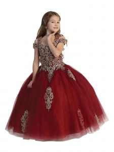 Girls Multi Color Crystal Off Shoulder Ball Gown Pageant Dress 2-12