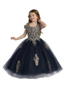 Little Girls Navy Crystal Off Shoulder Ball Gown Pageant Dress 2-6