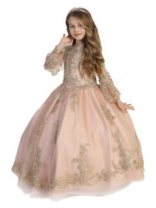 Little Girls Blush Crystal Lace Bell Sleeve Ball Gown Pageant Dress 2-6