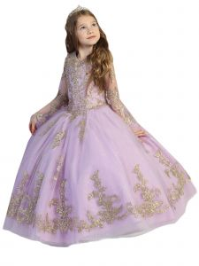 Big Girls Lilac Crystal Lace Bell Sleeve Ball Gown Pageant Dress 7-12