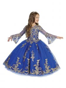 Big Girls Royal Blue Crystal Lace Bell Sleeve Ball Gown Pageant Dress 7-12