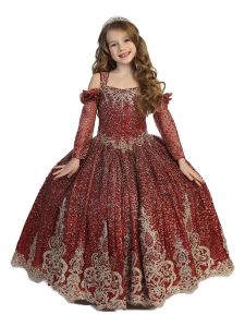 Little Girls Burgundy Sparkly Crystal Lace Gloves Ball Gown Pageant Dress 2-6