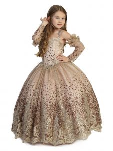 Big Girls Rose Gold Sparkly Crystal Lace Gloves Ball Gown Pageant Dress 7-12