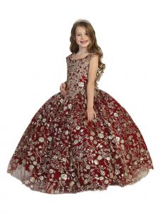 Big Girls Burgundy Lace Tassel Open Back Ball Gown Pageant Dress 7-12