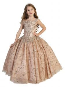 Little Girls Rose Gold Lace Tassel Open Back Ball Gown Pageant Dress 2-6
