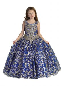Big Girls Royal Blue Lace Tassel Open Back Ball Gown Pageant Dress 7-12