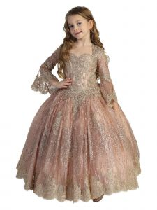 Little Girls Rose Gold Glitter Lace Bell Sleeve Ball Gown Pageant Dress 2-6