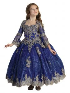 Big Girls Royal Blue Glitter Lace Bell Sleeve Ball Gown Pageant Dress 7-12