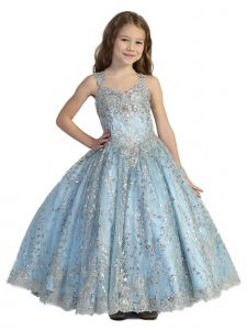 Big Girls Perry Blue Crystal Lace Open Back Flower Girl Pageant Dress 7-12
