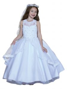 Angels Garment Girls White Beaded Bodice Tulle Overlay Communion Dress 6-16