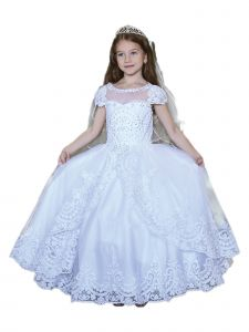 Angels Garment Little Girls White Cap Sleeve Lace Overlay Communion Dress 6