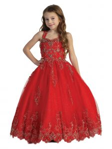 Big Girls Red Crystal Lace Sleeveless Corset Flower Girl Pageant Dress 7-12
