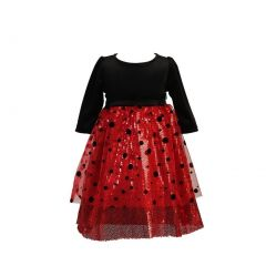 Angels Garment Girls Black Velvet Top Polka Dot Mesh Christmas Dress 12M-4T