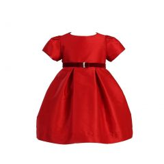 Angels Garment Girls Velvet Ribbon Brooch Red Christmas Dress 12M-4T