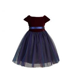 Angels Garment Girls Red Velvet Top Layered Tulle Christmas Dress 12M-4T