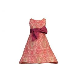 Angels Garment Girls Red Dupioni Bow Pink Brocade Christmas Dress 5-10