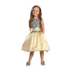 Angels Garment Girls Navy Jacquard Top Gold Skirt Christmas Dress 12M-4T