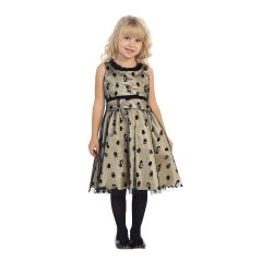Angels Garment Little Girls Gold Black Animal Print Party Dress 2T-6