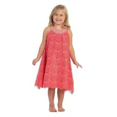 Angels Garment Big Girls Coral Lace Overlay Crystal Flower Girl Dress 7-12