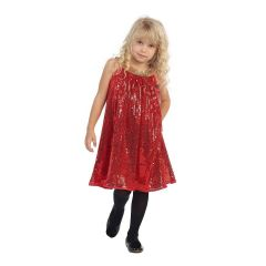 Angels Garment Little Girls Red Gold Sequence Tent Christmas Dress 5-6