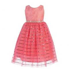 Angels Garment Little Girls Coral Lace Sparkle Sequin Tulle Easter Dress 2-6