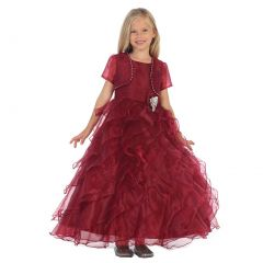 Angels Garment Big Girls Burgundy Organza Brooch Bolero Flower Girl Dress 7-10
