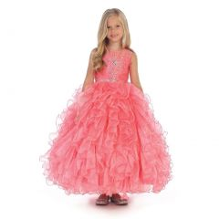 Angels Garment Little Girls Coral Beaded Full Ruffle Pageant Dress 3-6