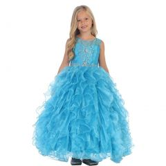 Angels Garment Little Girls Turquoise Beaded Full Ruffle Pageant Dress 3-6