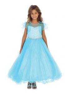Angels Garment Big Girls Aqua Beaded Tulle Bolero Junior Bridesmaid Dress 7-10