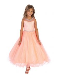 Angels Garment Little Girls Coral Beaded Tulle Bolero Flower Girl Dress 3-6