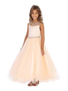 Angels Garment Big Girls Champagne Beaded Bolero Junior Bridesmaid Dress 7-10