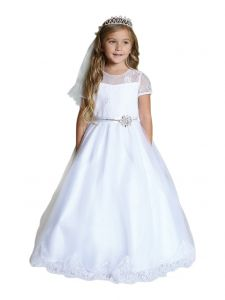 Angels Garment Big Girls White Satin Ribbon Rhinestone Communion Dress 10