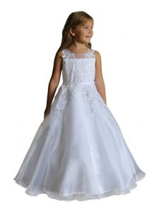 Angels Garment Big Girls White Organza Applique Adorned Communion Dress 16