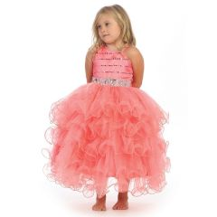 Angels Garment Big Girls Coral Bead Ruffle Skirt Flower Girl Dress 7-8